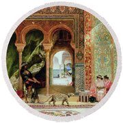 A Royal Palace In Morocco Round Beach Towel by Benjamin Jean Joseph Constant