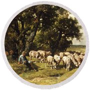 A Shepherd And His Flock Round Beach Towel by Charles Emile Jacques