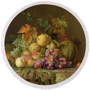 A Still Life Of Melons Grapes And Peaches On A Ledge Round Beach Towel by Jakob Bogdani
