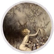 A Sudden Swarm Of Winged Creatures Brushed Past Her Round Beach Towel by Arthur Rackham