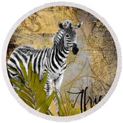 A Taste Of Africa Zebra Round Beach Towel by Mindy Sommers