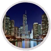 A View Down The Chicago River Round Beach Towel by Frozen in Time Fine Art Photography