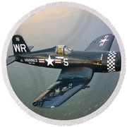 A Vought F4u-5 Corsair In Flight Round Beach Towel by Scott Germain