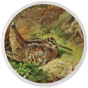 A Woodcock And Chicks Round Beach Towel by Archibald Thorburn
