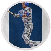 Addison Russell Chicago Cubs Art Round Beach Towel by Joe Hamilton