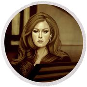 Adele Gold Round Beach Towel by Paul Meijering
