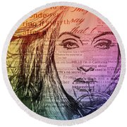 Adele Hello Typography  Round Beach Towel by Dan Sproul