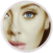 Adele Painting Circle Pattern 1 Round Beach Towel by Tony Rubino