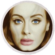 Adele Painting Circle Pattern 2 Round Beach Towel by Tony Rubino