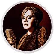 Adele Skyfall Gold Round Beach Towel by Paul Meijering