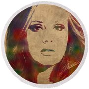 Adele Watercolor Portrait Round Beach Towel by Design Turnpike