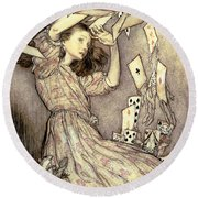 Adventures In Wonderland Round Beach Towel by Arthur Rackham