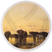 African Elephants Round Beach Towel by Charles Emile de Tournemine