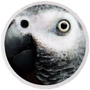 African Gray Parrot Art - Softy Round Beach Towel by Sharon Cummings