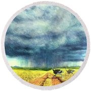 African Storm Round Beach Towel by Tilly Willis