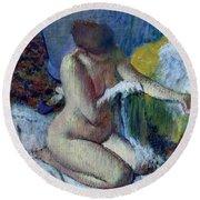 After The Bath Round Beach Towel by Edgar Degas