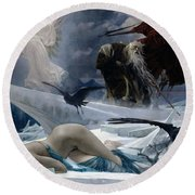 Ahasuerus At The End Of The World Round Beach Towel by Adolph Hiremy Hirschl