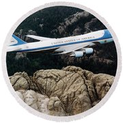 Air Force One Flying Over Mount Rushmore Round Beach Towel by War Is Hell Store
