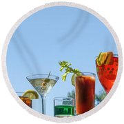 Alcoholic Beverages - Outdoor Bar Round Beach Towel by Nikolyn McDonald