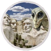 Alien Vacation - Mount Rushmore 2 Round Beach Towel by Mike McGlothlen