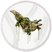Alligator Watercolor Painting Round Beach Towel by Marian Voicu