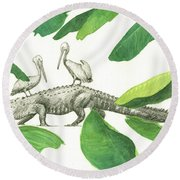 Alligator With Pelicans Round Beach Towel by Juan Bosco