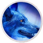 Alpha Wolf Round Beach Towel by Mal Bray