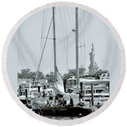 America II And The Statue Of Liberty Round Beach Towel by Sandy Taylor