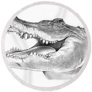American Alligator Round Beach Towel by Greg Joens