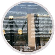 Round Beach Towel featuring the photograph American Battle Monuments Commission by Travel Pics