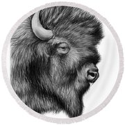 American Bison Round Beach Towel by Greg Joens