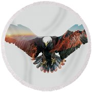 American Eagle Round Beach Towel by John Beckley