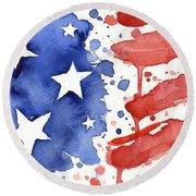 American Flag Watercolor Painting Round Beach Towel by Olga Shvartsur