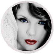 American Girl Taylor Swift Round Beach Towel by Brian Reaves