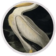 American White Pelican Round Beach Towel by John James Audubon
