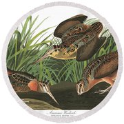 American Woodcock Round Beach Towel by MotionAge Designs