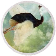 Anastasia's Ostrich Round Beach Towel by Mindy Sommers