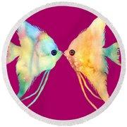 Angelfish Kissing Round Beach Towel by Hailey E Herrera