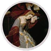 Anne Boleyn In The Tower Round Beach Towel by Edouard Cibot