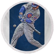 Anthony Rizzo Chicago Cubs Art 1 Round Beach Towel by Joe Hamilton