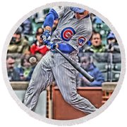 Anthony Rizzo Chicago Cubs Round Beach Towel by Joe Hamilton
