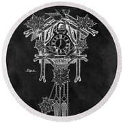 Antique Cuckoo Clock Patent Round Beach Towel by Dan Sproul