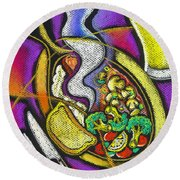 Appetizing Dinner Round Beach Towel by Leon Zernitsky