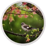 April Showers Bring May Flowers Mocking Bird Round Beach Towel by Terry DeLuco