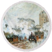 Arrival Of A Train Round Beach Towel by Claude Monet
