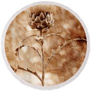 Artichoke Bloom Round Beach Towel by La Rae  Roberts