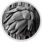 Artichoke In Black And White Round Beach Towel by Garry Gay