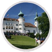 Round Beach Towel featuring the photograph Artstetten Castle In June by Travel Pics