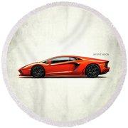 Lamborghini Aventador Round Beach Towel by Mark Rogan