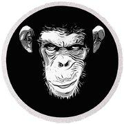 Evil Monkey Round Beach Towel by Nicklas Gustafsson